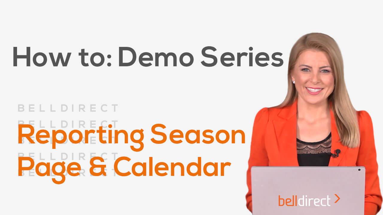 Reporting Season Page & Calendar